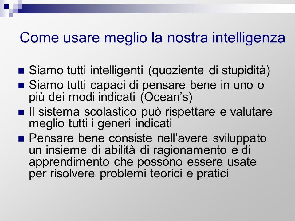 Come usare meglio la nostra intelligenza Siamo tutti intelligenti (quoziente di stupidità) Siamo tutti capaci di pensare bene in uno o più dei modi in