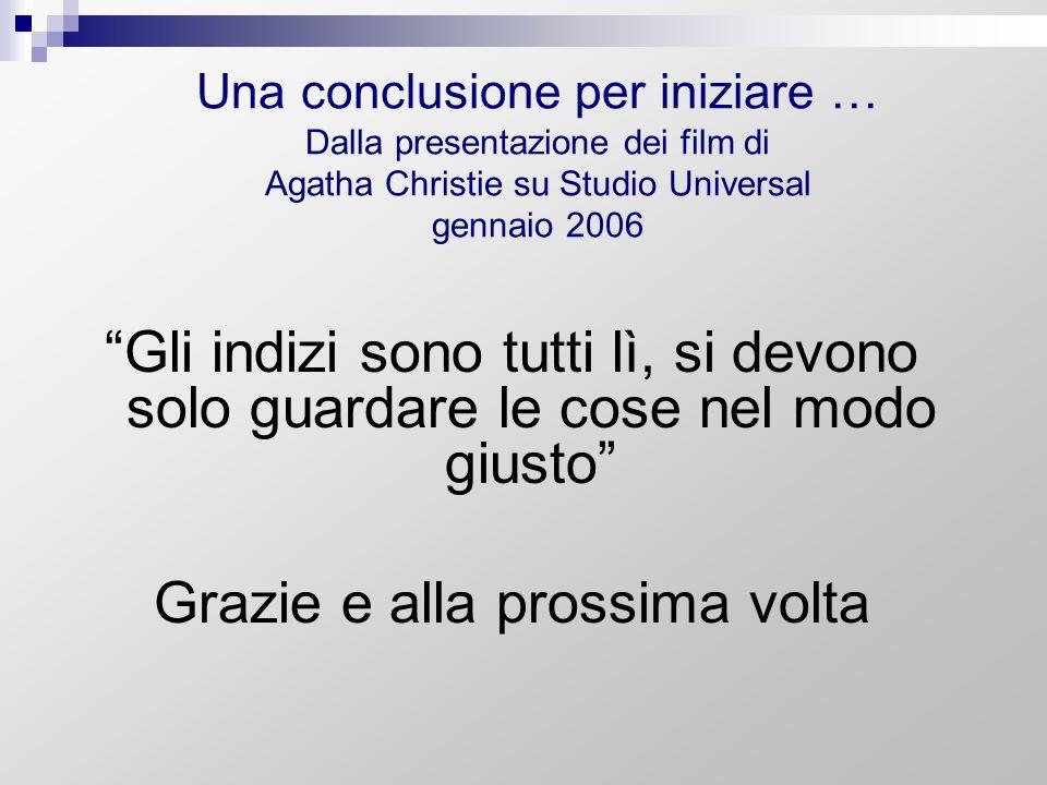 Una conclusione per iniziare … Dalla presentazione dei film di Agatha Christie su Studio Universal gennaio 2006 Gli indizi sono tutti lì, si devono so