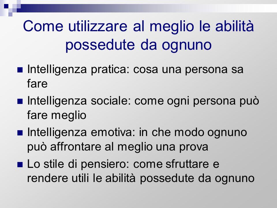 Come utilizzare al meglio le abilità possedute da ognuno Intelligenza pratica: cosa una persona sa fare Intelligenza sociale: come ogni persona può fa