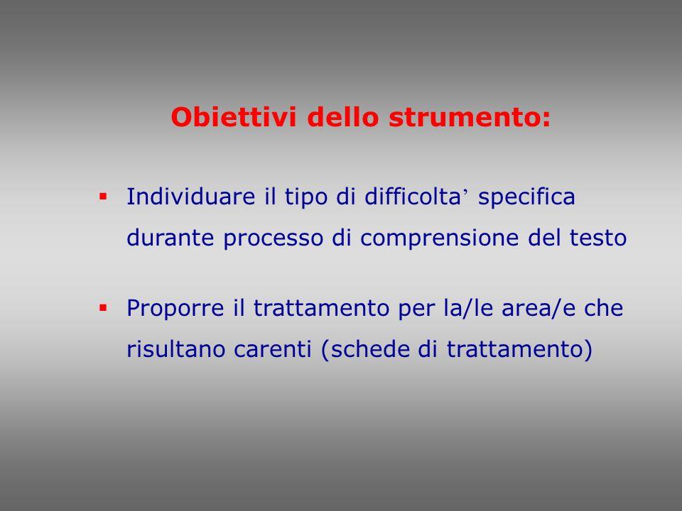 Obiettivi dello strumento: Individuare il tipo di difficolta specifica durante processo di comprensione del testo Proporre il trattamento per la/le ar