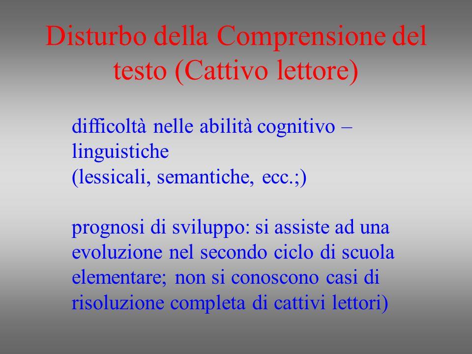 Disturbo della Comprensione del testo (Cattivo lettore) difficoltà nelle abilità cognitivo – linguistiche (lessicali, semantiche, ecc.;) prognosi di s