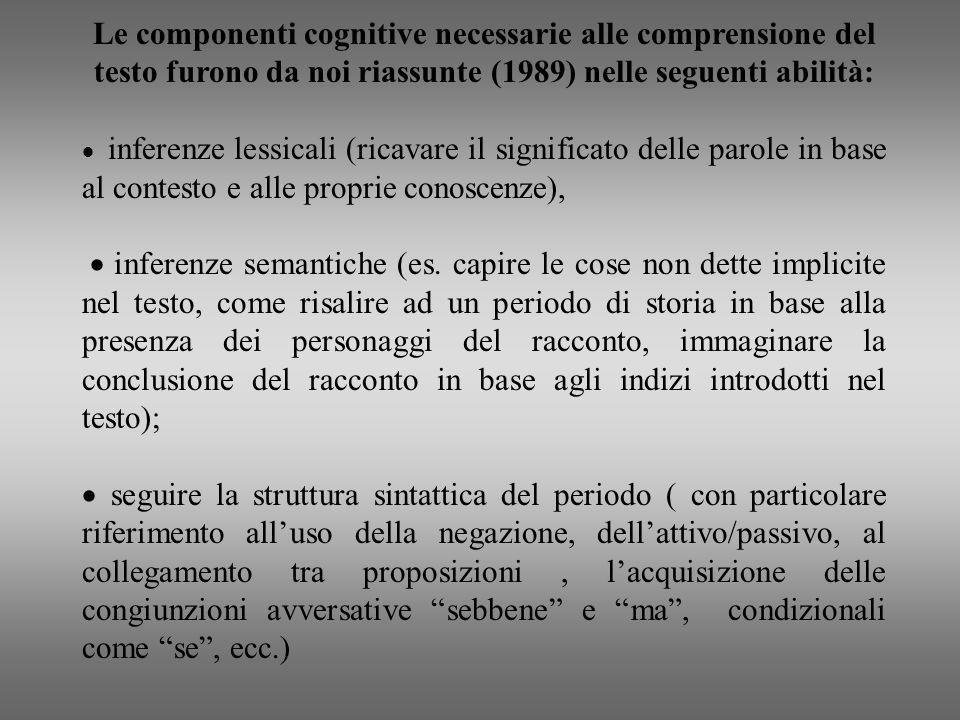 Le componenti cognitive necessarie alle comprensione del testo furono da noi riassunte (1989) nelle seguenti abilità: inferenze lessicali (ricavare il