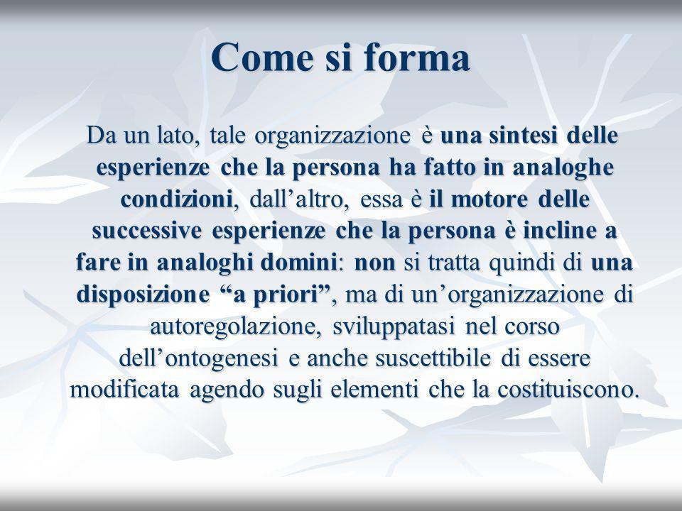 Senso di autoefficacia Si riferisce alla fiducia e perciò alle aspettative che una persona ha di padroneggiare con successo determinate situazioni.