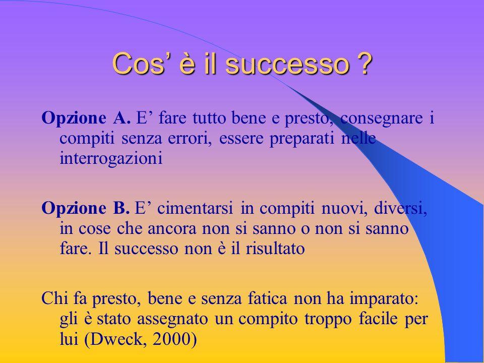 Cos è il successo ? Opzione A. E fare tutto bene e presto, consegnare i compiti senza errori, essere preparati nelle interrogazioni Opzione B. E cimen