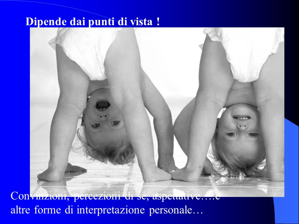 Dipende dai punti di vista ! Convinzioni, percezioni di sé, aspettative….e altre forme di interpretazione personale…