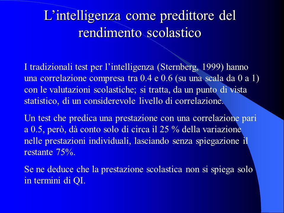 Lintelligenza come predittore del rendimento scolastico I tradizionali test per lintelligenza (Sternberg, 1999) hanno una correlazione compresa tra 0.4 e 0.6 (su una scala da 0 a 1) con le valutazioni scolastiche; si tratta, da un punto di vista statistico, di un considerevole livello di correlazione.
