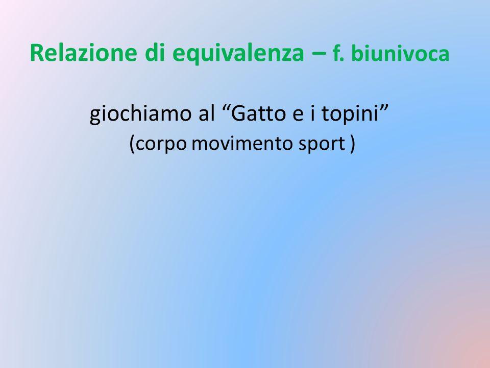 Relazione di equivalenza – f. biunivoca giochiamo al Gatto e i topini (corpo movimento sport )