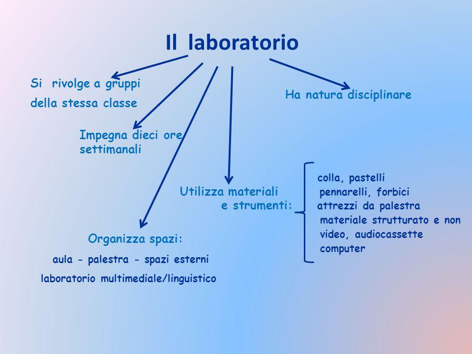Il laboratorio Si rivolge a gruppi della stessa classe colla, pastelli Utilizza materiali pennarelli, forbici e strumenti: attrezzi da palestra materi
