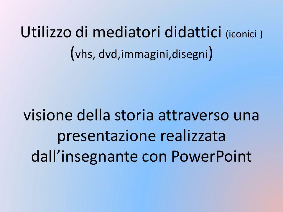 Utilizzo di mediatori didattici (iconici ) ( vhs, dvd,immagini,disegni ) visione della storia attraverso una presentazione realizzata dallinsegnante c