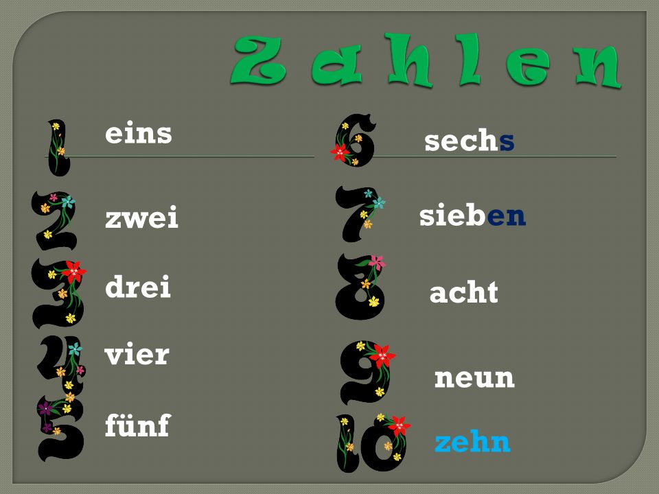 Esclusi l 11 e il 12 i numeri successivi si formano con laggiunta del suffisso -zehn elf zwölf dreizehn vierzehn fünfzehn sechzehn siebzehn achtzehn neunzehn