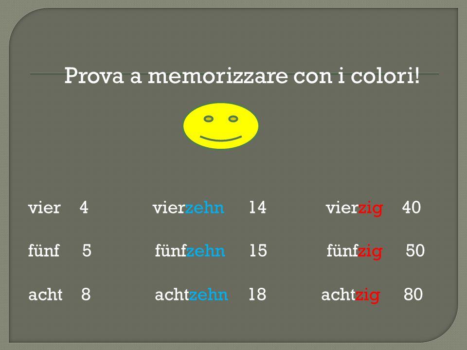 vier 4 vierzehn 14 vierzig 40 fünf 5 fünfzehn 15 fünfzig 50 acht 8 achtzehn 18 achtzig 80 Prova a memorizzare con i colori!
