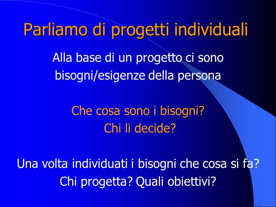 Parliamo di progetti individuali Alla base di un progetto ci sono bisogni/esigenze della persona Che cosa sono i bisogni? Chi li decide? Una volta ind
