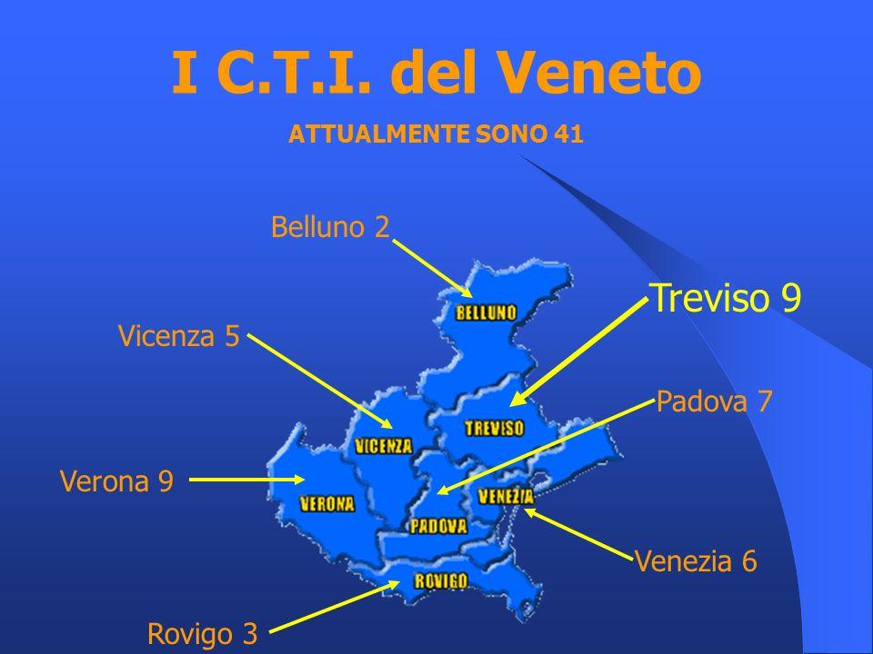 I C.T.I. del Veneto ATTUALMENTE SONO 41 Belluno 2 Treviso 9 Venezia 6 Rovigo 3 Padova 7 Verona 9 Vicenza 5