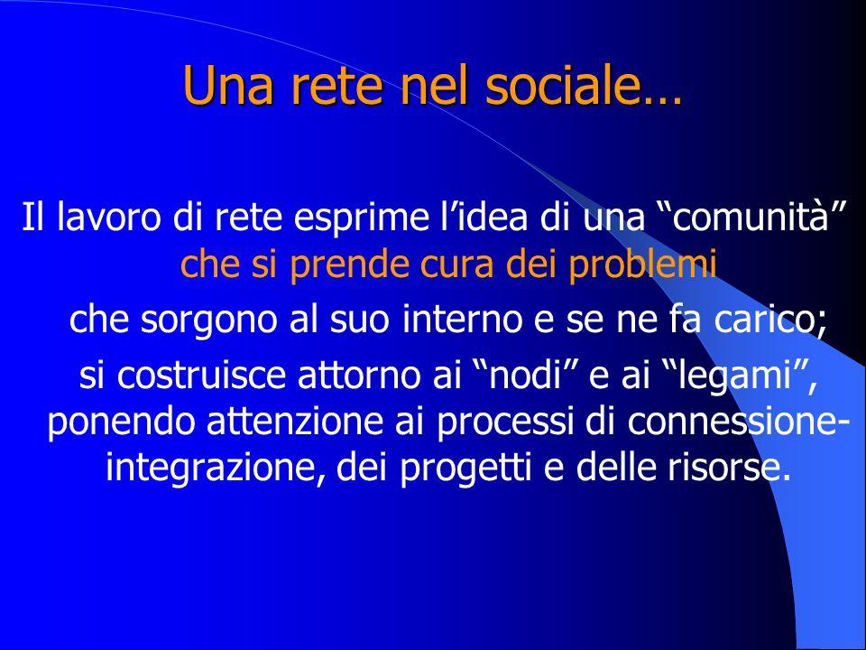 Una rete nel sociale… Il lavoro di rete esprime lidea di una comunità che si prende cura dei problemi che sorgono al suo interno e se ne fa carico; si