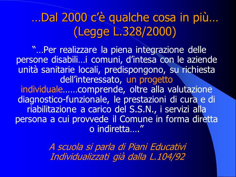 …Dal 2000 cè qualche cosa in più… (Legge L.328/2000) …Per realizzare la piena integrazione delle persone disabili…i comuni, dintesa con le aziende uni