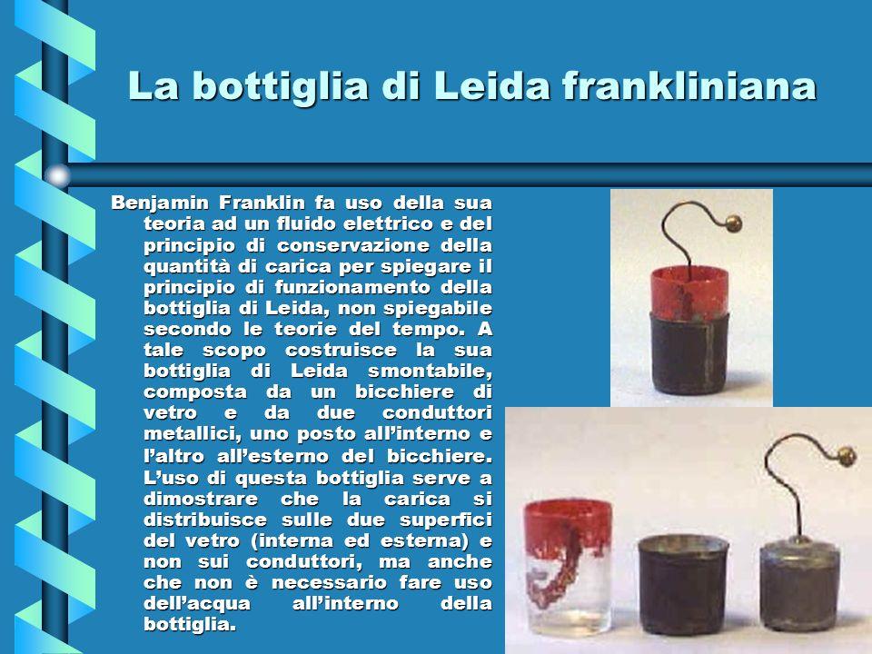 La bottiglia di Leida frankliniana Benjamin Franklin fa uso della sua teoria ad un fluido elettrico e del principio di conservazione della quantità di