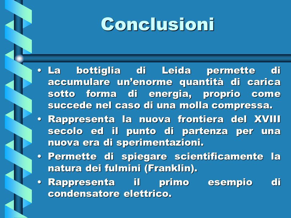 Conclusioni La bottiglia di Leida permette di accumulare unenorme quantità di carica sotto forma di energia, proprio come succede nel caso di una moll