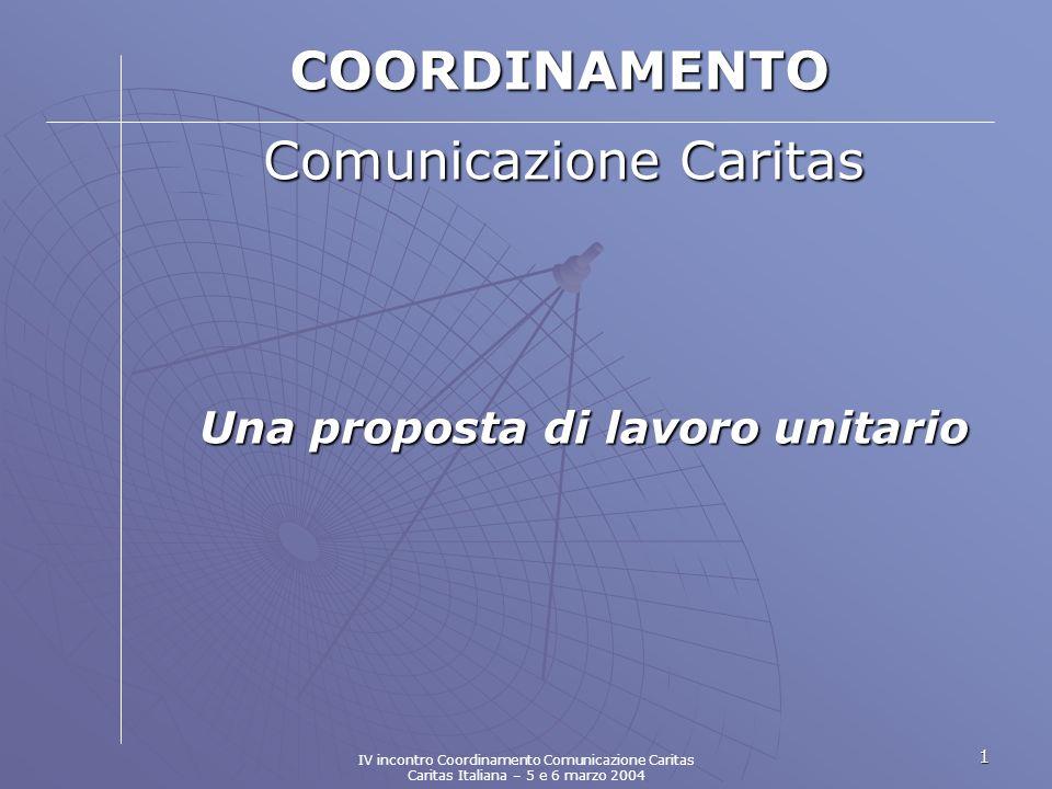 1 COORDINAMENTO Comunicazione Caritas Una proposta di lavoro unitario IV incontro Coordinamento Comunicazione Caritas Caritas Italiana – 5 e 6 marzo 2004