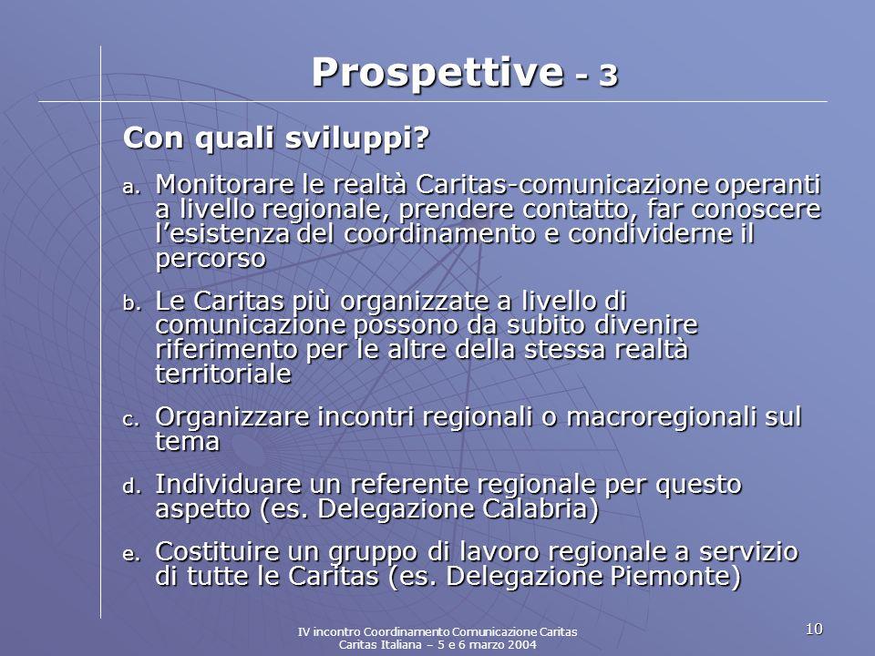 10 Prospettive - 3 Con quali sviluppi. a.
