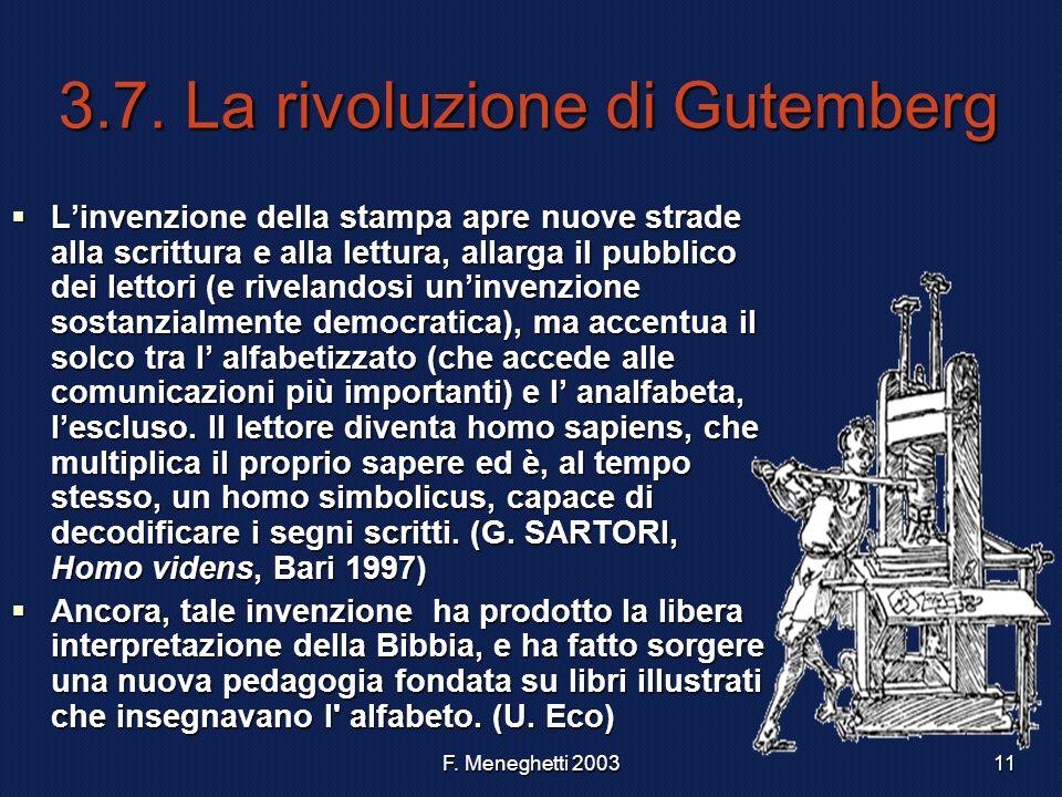 F. Meneghetti 200311 3.7. La rivoluzione di Gutemberg Linvenzione della stampa apre nuove strade alla scrittura e alla lettura, allarga il pubblico de