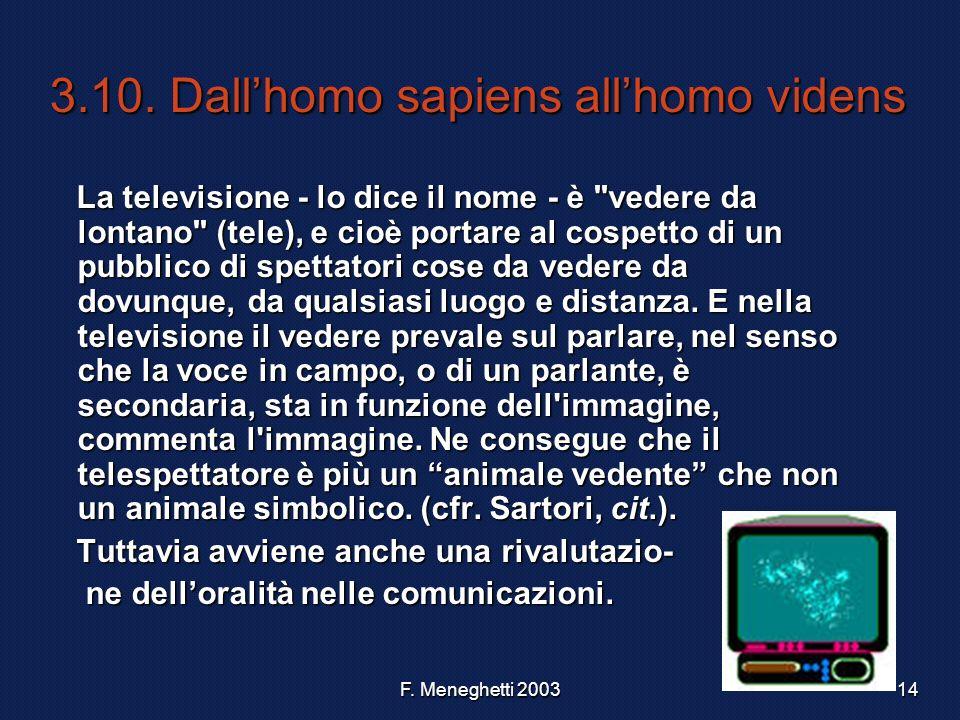 F. Meneghetti 200314 3.10. Dallhomo sapiens allhomo videns La televisione - lo dice il nome - è