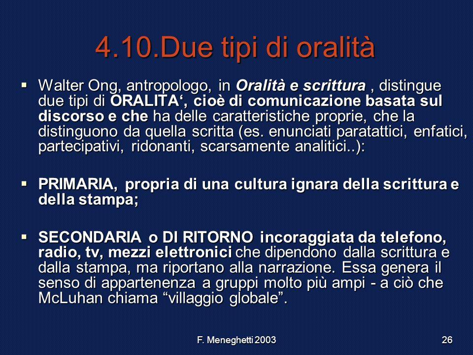 F. Meneghetti 200326 4.10.Due tipi di oralità Walter Ong, antropologo, in Oralità e scrittura, distingue due tipi di ORALITA, cioè di comunicazione ba
