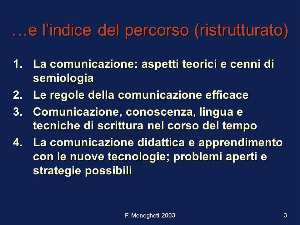 F. Meneghetti 20033 …e lindice del percorso (ristrutturato) 1.La comunicazione: aspetti teorici e cenni di semiologia 2.Le regole della comunicazione