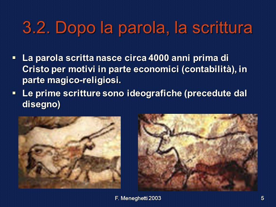 F. Meneghetti 20035 3.2. Dopo la parola, la scrittura La parola scritta nasce circa 4000 anni prima di Cristo per motivi in parte economici (contabili