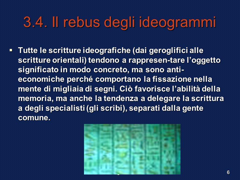 F. Meneghetti 20036 3.4. Il rebus degli ideogrammi Tutte le scritture ideografiche (dai geroglifici alle scritture orientali) tendono a rappresen-tare
