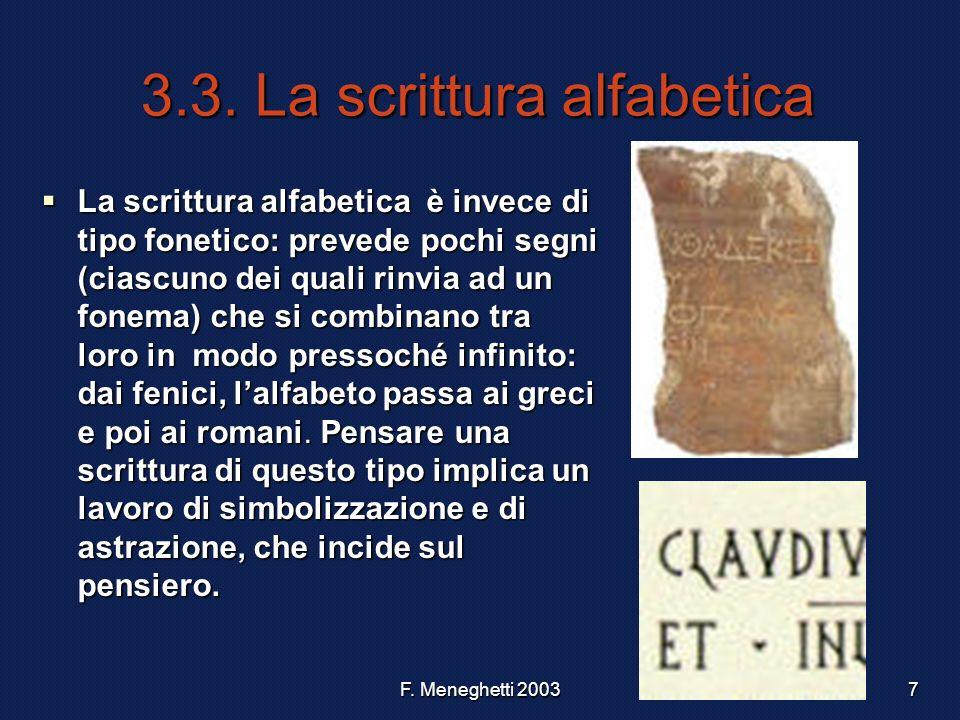 F. Meneghetti 20037 3.3. La scrittura alfabetica La scrittura alfabetica è invece di tipo fonetico: prevede pochi segni (ciascuno dei quali rinvia ad