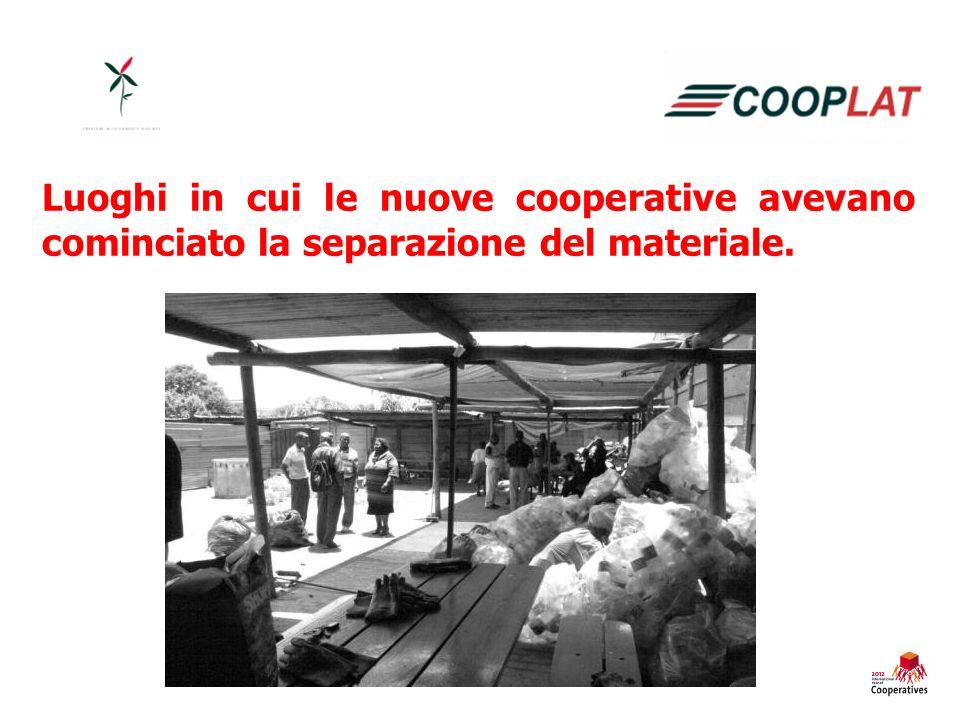 Luoghi in cui le nuove cooperative avevano cominciato la separazione del materiale.