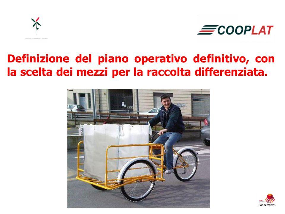 Definizione del piano operativo definitivo, con la scelta dei mezzi per la raccolta differenziata.