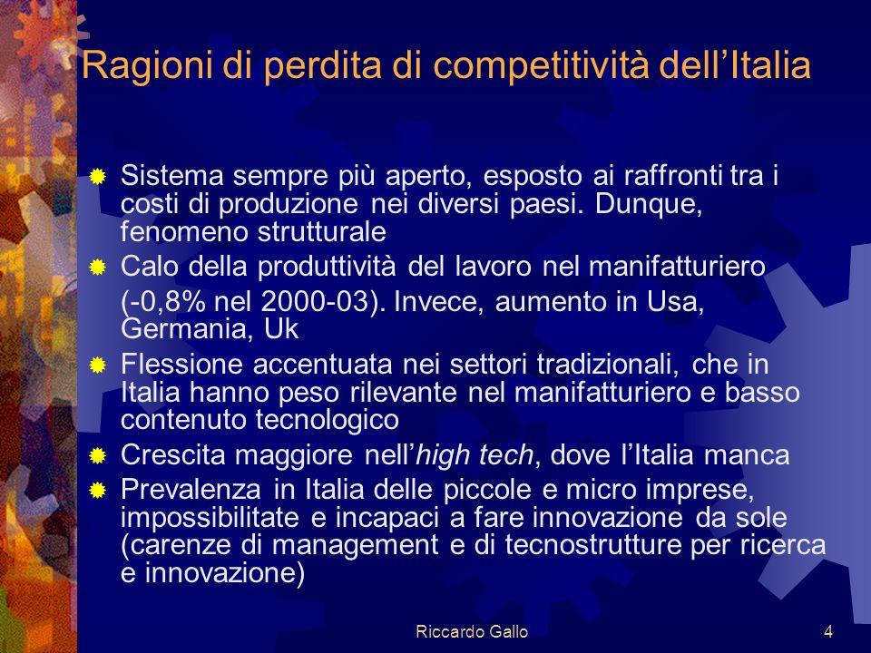 Riccardo Gallo4 Ragioni di perdita di competitività dellItalia Sistema sempre più aperto, esposto ai raffronti tra i costi di produzione nei diversi paesi.