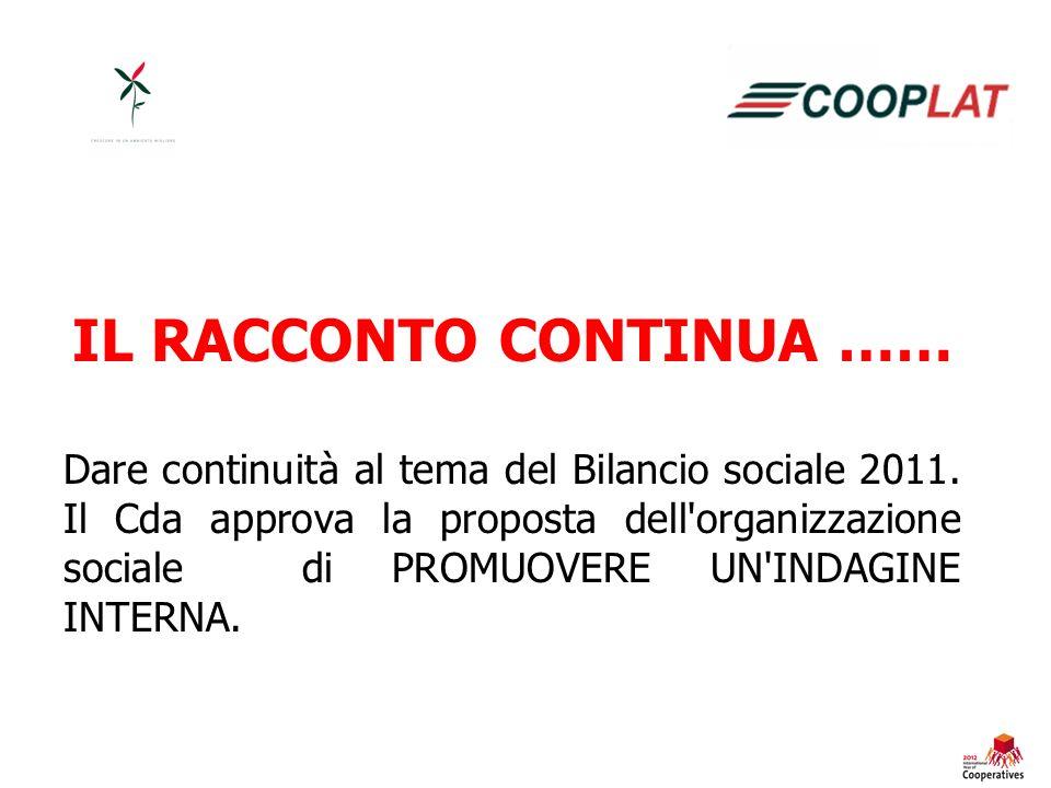 IL RACCONTO CONTINUA …… Dare continuità al tema del Bilancio sociale 2011.