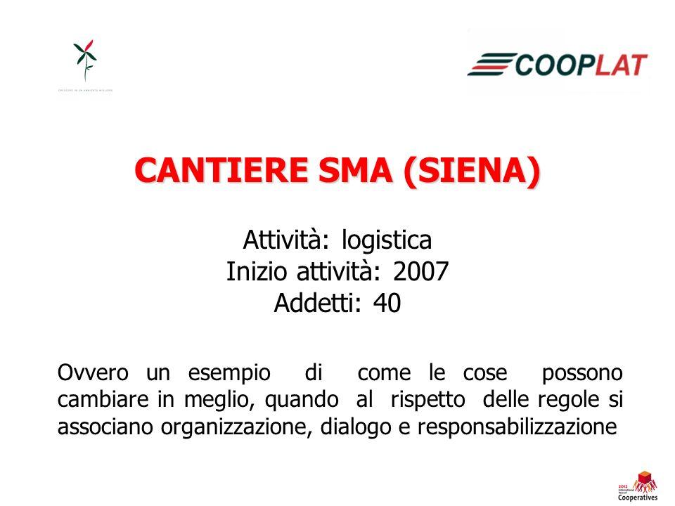 CANTIERE SMA (SIENA) Attività: logistica Inizio attività: 2007 Addetti: 40 Ovvero un esempio di come le cose possono cambiare in meglio, quando al rispetto delle regole si associano organizzazione, dialogo e responsabilizzazione
