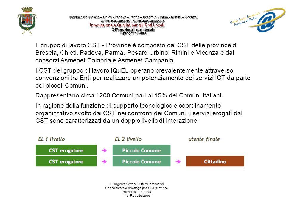 Il gruppo di lavoro CST - Province è composto dai CST delle province di Brescia, Chieti, Padova, Parma, Pesaro Urbino, Rimini e Vicenza e dai consorzi Asmenet Calabria e Asmenet Campania.