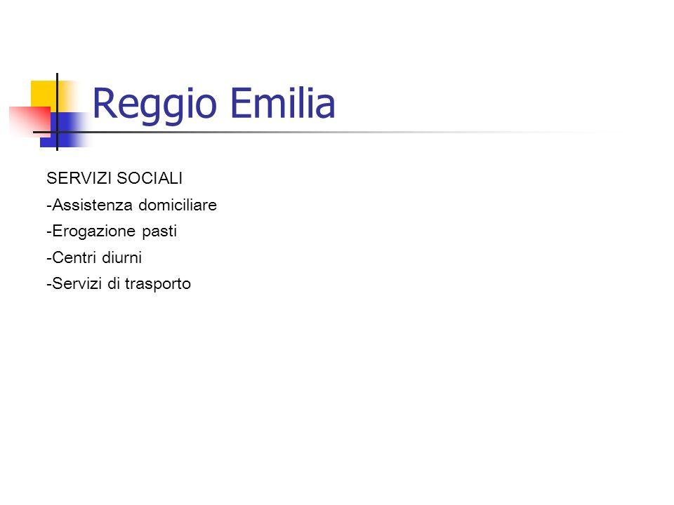 Reggio Emilia SERVIZI SOCIALI -Assistenza domiciliare -Erogazione pasti -Centri diurni -Servizi di trasporto