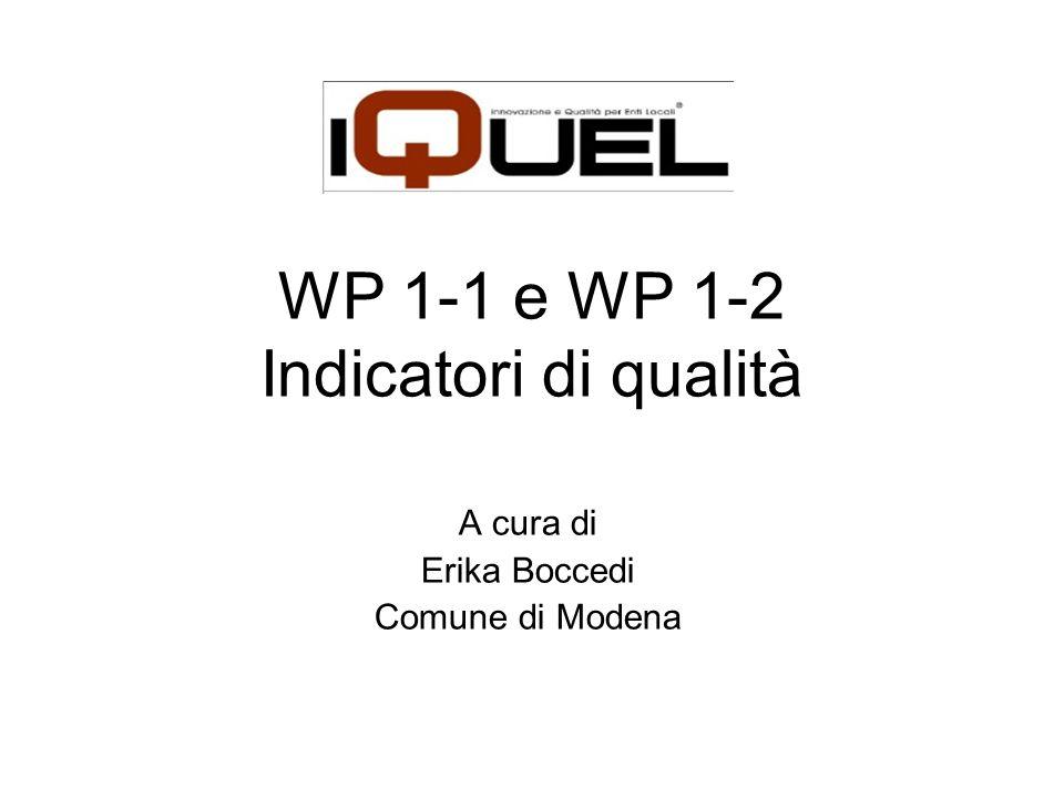 WP 1-1 e WP 1-2 Indicatori di qualità A cura di Erika Boccedi Comune di Modena