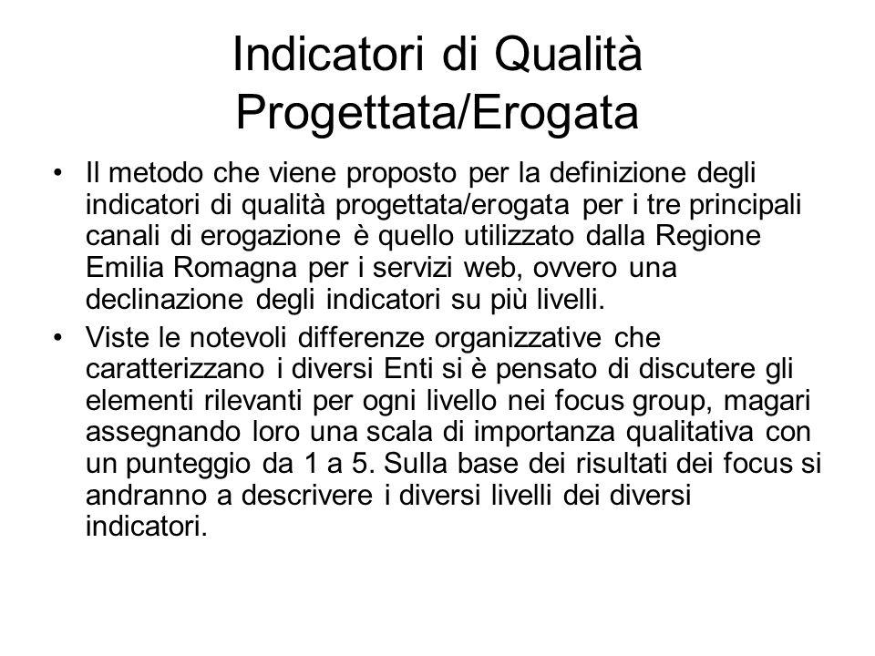 Indicatori di Qualità Progettata/Erogata Il metodo che viene proposto per la definizione degli indicatori di qualità progettata/erogata per i tre prin