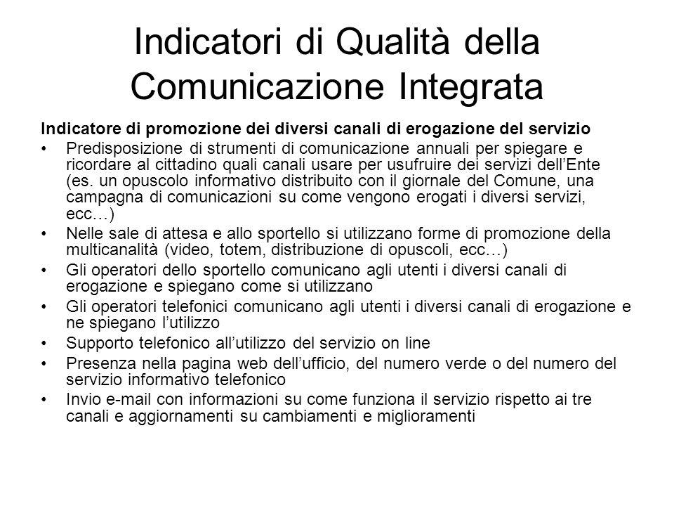 Indicatori di Qualità della Comunicazione Integrata Indicatore di promozione dei diversi canali di erogazione del servizio Predisposizione di strument