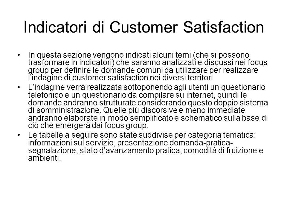 Indicatori di Customer Satisfaction In questa sezione vengono indicati alcuni temi (che si possono trasformare in indicatori) che saranno analizzati e