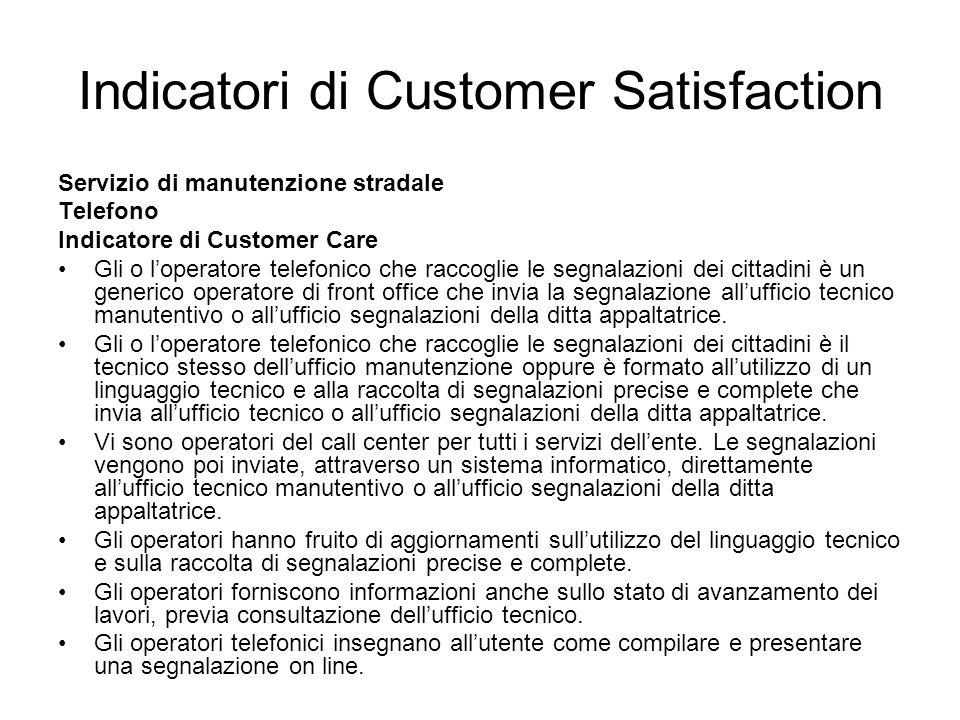 Indicatori di Customer Satisfaction Servizio di manutenzione stradale Telefono Indicatore di Customer Care Gli o loperatore telefonico che raccoglie l