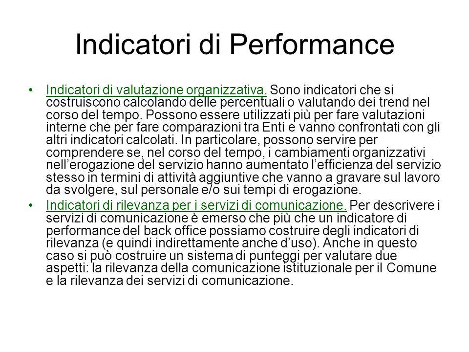 Indicatori di Performance Indicatori di valutazione organizzativa. Sono indicatori che si costruiscono calcolando delle percentuali o valutando dei tr