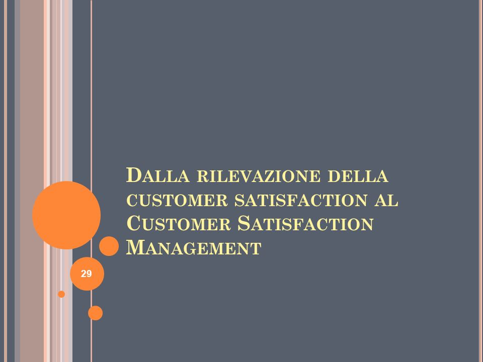 D ALLA RILEVAZIONE DELLA CUSTOMER SATISFACTION AL C USTOMER S ATISFACTION M ANAGEMENT 29
