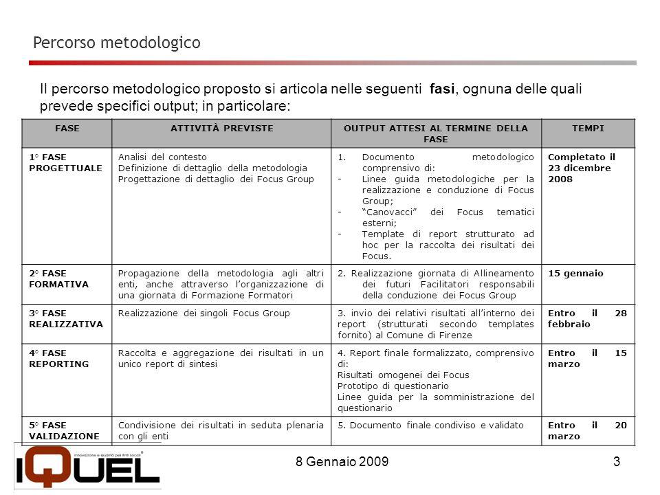 8 Gennaio 20093 Il percorso metodologico proposto si articola nelle seguenti fasi, ognuna delle quali prevede specifici output; in particolare: Percorso metodologico FASEATTIVITÀ PREVISTEOUTPUT ATTESI AL TERMINE DELLA FASE TEMPI 1° FASE PROGETTUALE Analisi del contesto Definizione di dettaglio della metodologia Progettazione di dettaglio dei Focus Group 1.Documento metodologico comprensivo di: -Linee guida metodologiche per la realizzazione e conduzione di Focus Group; -Canovacci dei Focus tematici esterni; -Template di report strutturato ad hoc per la raccolta dei risultati dei Focus.