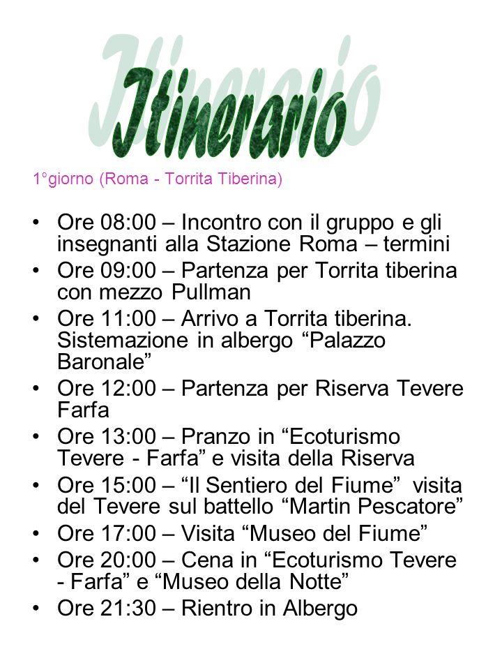 1°giorno (Roma - Torrita Tiberina) Ore 08:00 – Incontro con il gruppo e gli insegnanti alla Stazione Roma – termini Ore 09:00 – Partenza per Torrita tiberina con mezzo Pullman Ore 11:00 – Arrivo a Torrita tiberina.