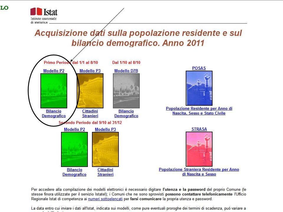 11 2°MODULO ISTAT–STRUTTURA E DINAMICA DEMOGRAFICA DATI DI BILANCIO modello D7B aggiuntivo 1 ottobre - 8 ottobre 2011 2° MODULO