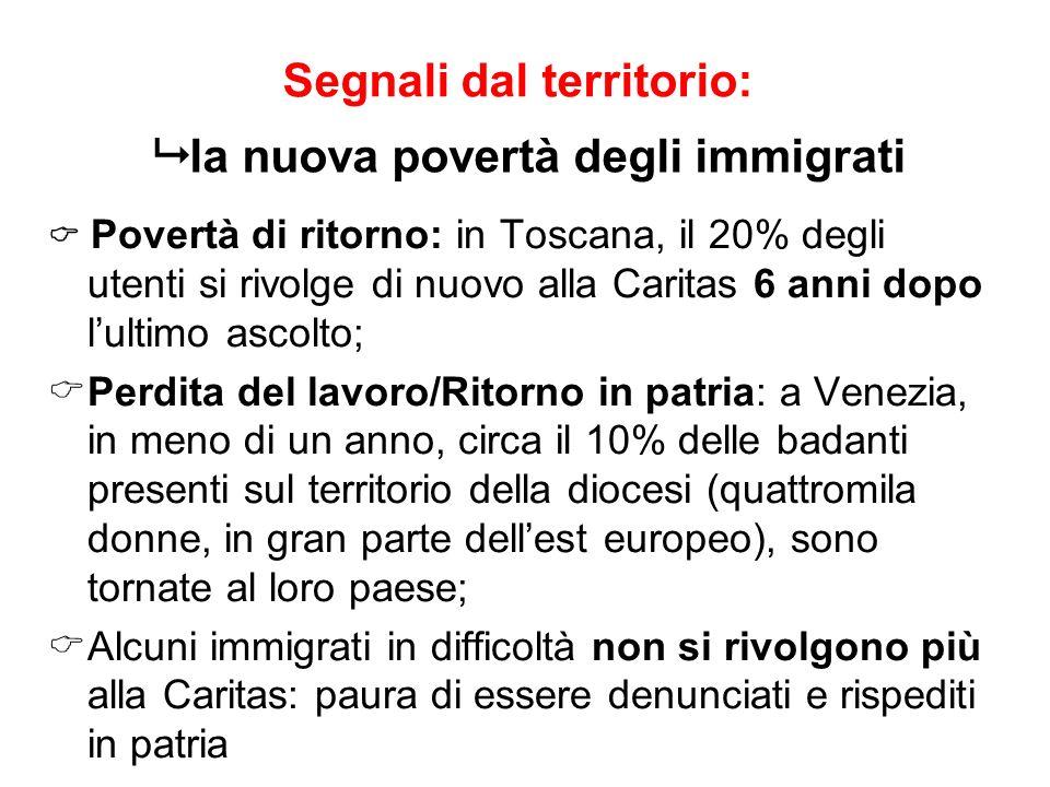Segnali dal territorio: Povertà di ritorno: in Toscana, il 20% degli utenti si rivolge di nuovo alla Caritas 6 anni dopo lultimo ascolto; Perdita del
