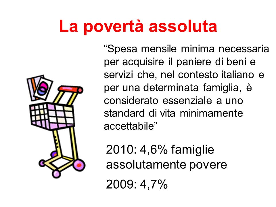 La povertà assoluta Spesa mensile minima necessaria per acquisire il paniere di beni e servizi che, nel contesto italiano e per una determinata famigl