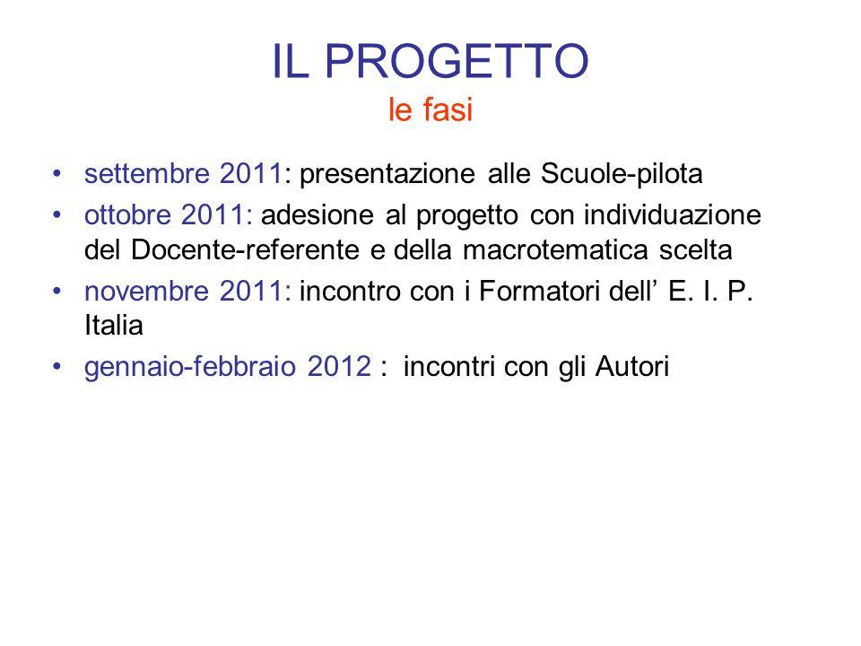 IL PROGETTO le fasi settembre 2011: presentazione alle Scuole-pilota ottobre 2011: adesione al progetto con individuazione del Docente-referente e del